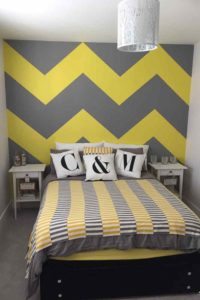 K and M Decorating Pattern Wallpaper Chevron Painted Bedroom finished
