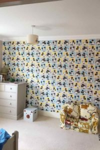 K and M Decorating Pattern Wallpaper Mickey Mouse Bedroom finished