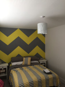 K and M Decorating Chevron Painted Bedroom